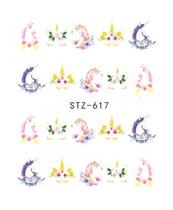 Vodonálepky na nechty  jednorožec STZ-617